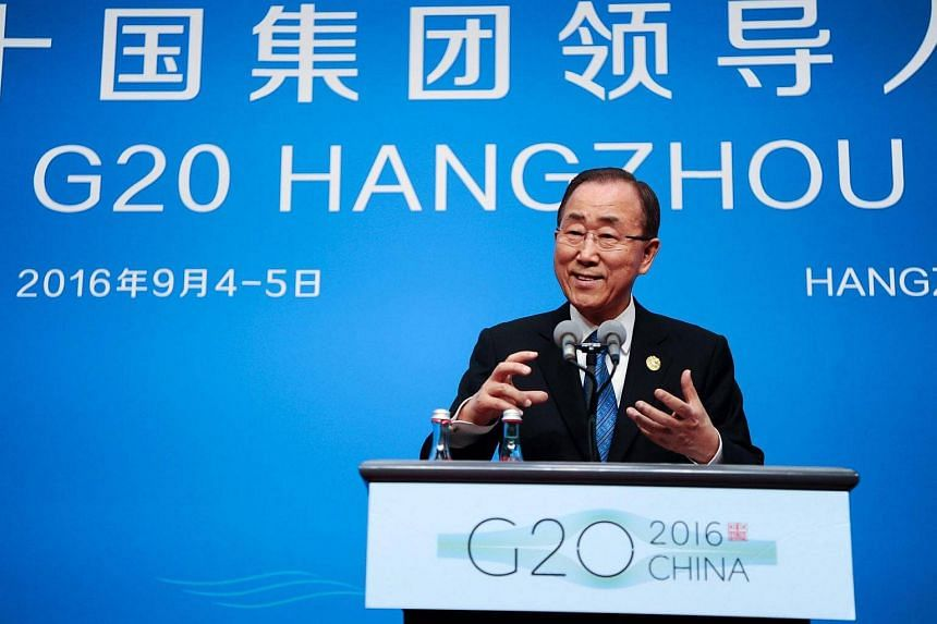 UN Secretary-General, Ban Ki Moon speaks during a press conference at the G20 Summit in Hangzhou, China on Sept 4, 2016.