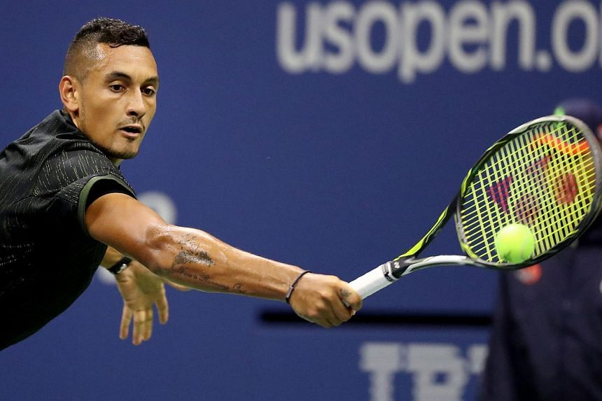 Nick Kyrgios hits a return to Illya Marchenko on the sixth day of the US Open Tennis Championships in Flushing Meadows, New York on Sept 3, 2016.