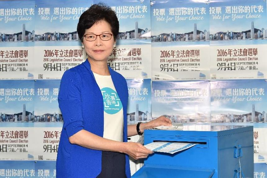 Hong Kong Chief Secretary Carrie Lam casting her vote for the city's Legislative Council Election at the German Swiss International School Peak Campus on Sept 4, 2016.