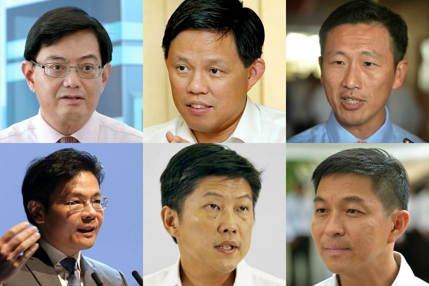 Clockwise from top left: Finance Minister Heng Swee Keat, Minister in the Prime Minister's Office Chan Chun Sing, Acting Minister for Education (Higher Education and Skills) Ong Ye Kung, Minister for Social and Family Development Tan Chuan-Jin, Actin