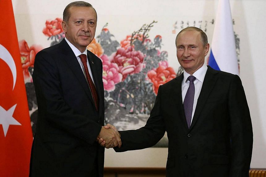 Russian President Vladimir Putin (right) and his Turkish counterpart Recep Tayyip Erdogan on Saturday (Sept 3) backed the healing of relations between their nations.