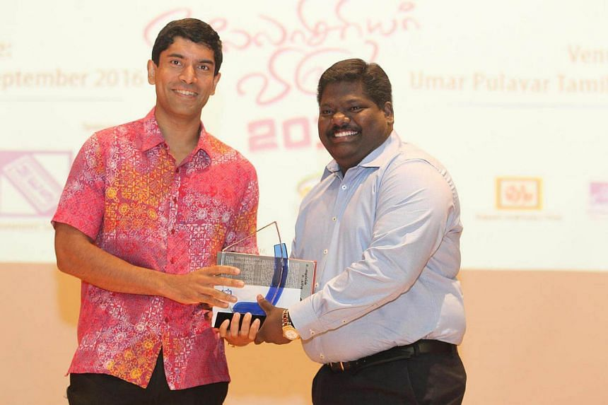MP Vikram Nair (left) and Mr Louis Isack Kumar from Bartley Secondary School.