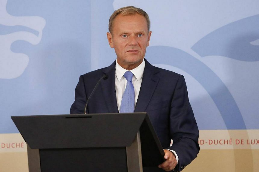 European Council President Donald Tusk speaks during a press conference with Luxembourg Prime Minister Xavier Bettel (not pictured) after a meeting in Luxembourg, Sept 1 2016.