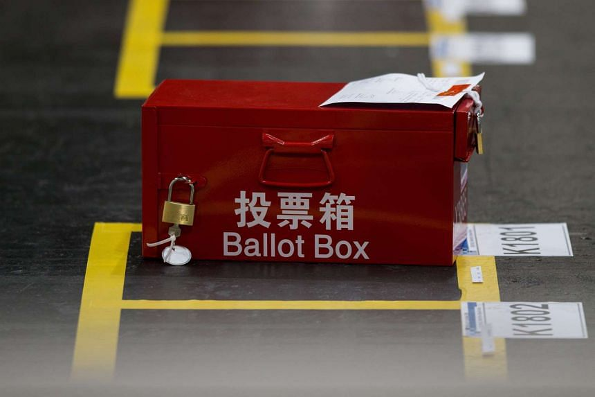 An unopened ballot box waiting to be emptied and counted in the Central Counting Station in Hong Kong, China on Sept 5, 2016.
