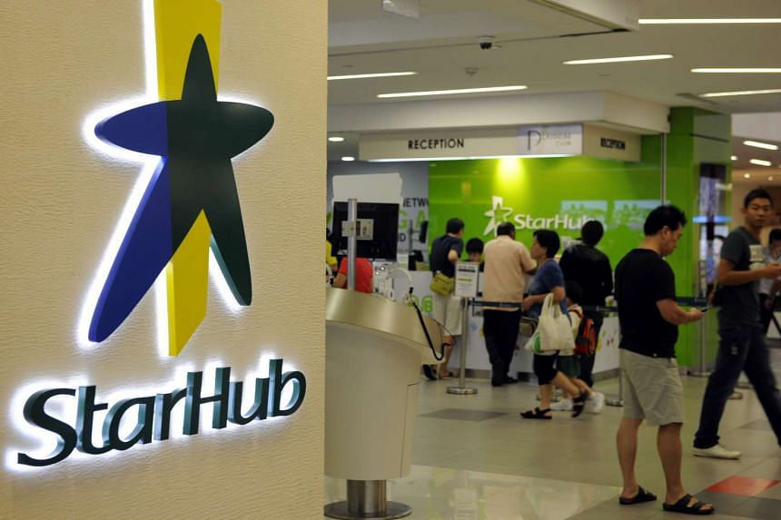 The logo of StarHub Ltd. is displayed outside a retail outlet in Singapore, on Friday, Feb 3, 2012.