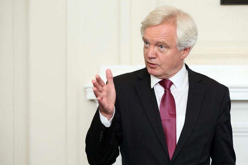 Brexit Minister David Davis speaks to the media in Belfast, Northern Ireland, on Sept 1.