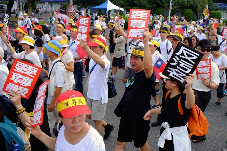 More than 100,000 people took to Taipei's streets to protest over planned reforms to the island's struggling pension system on Sept 3.