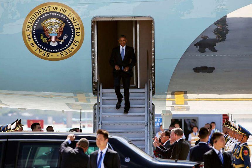 Lee Min Kok: US President Barack Obama exits Air Force One at Hangzhou's Xiaoshan International Airport.