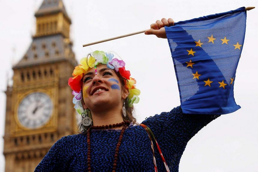A Pro-Europe demonstrator waves a flag during a protest against the Brexit vote result earlier in the year, in London, Britain, on Sept 3.