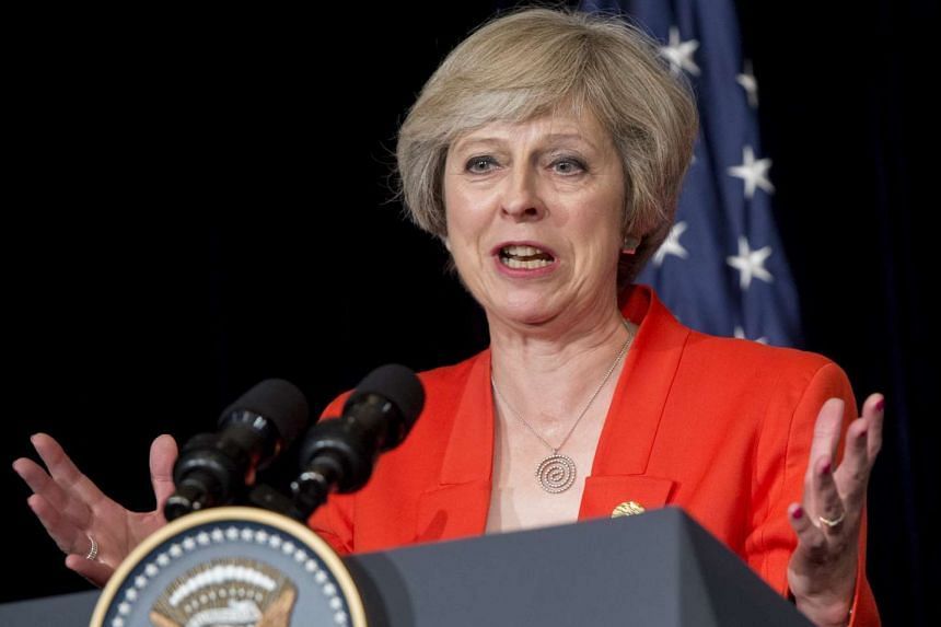 British Prime Minister Theresa May speaks during a press conference at the G20 summit in Hangzhou, China on Sept 4, 2016.