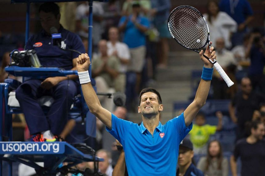 Novak Djokovic celebrates his victory over Kyle Edmund during their 2016 US Open men's singles match on Sept 4, 2016 in New York.