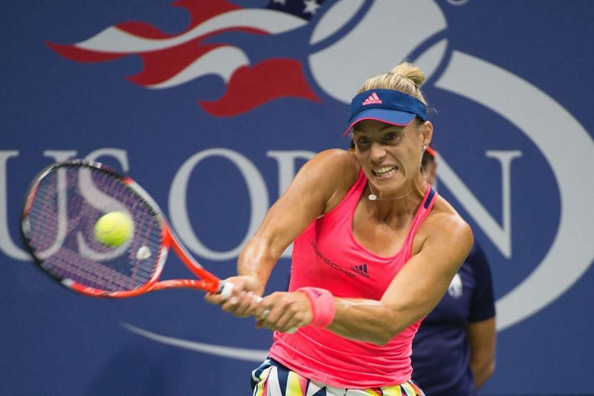 Angelique Kerber hits a return to Petra Kvitova during their 2016 US Open women's singles match on Sept 4, 2016 in New York.