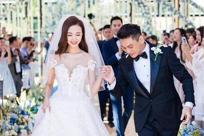 Newlyweds Ken Chu and Chinese actress Han Wenwen (both above).