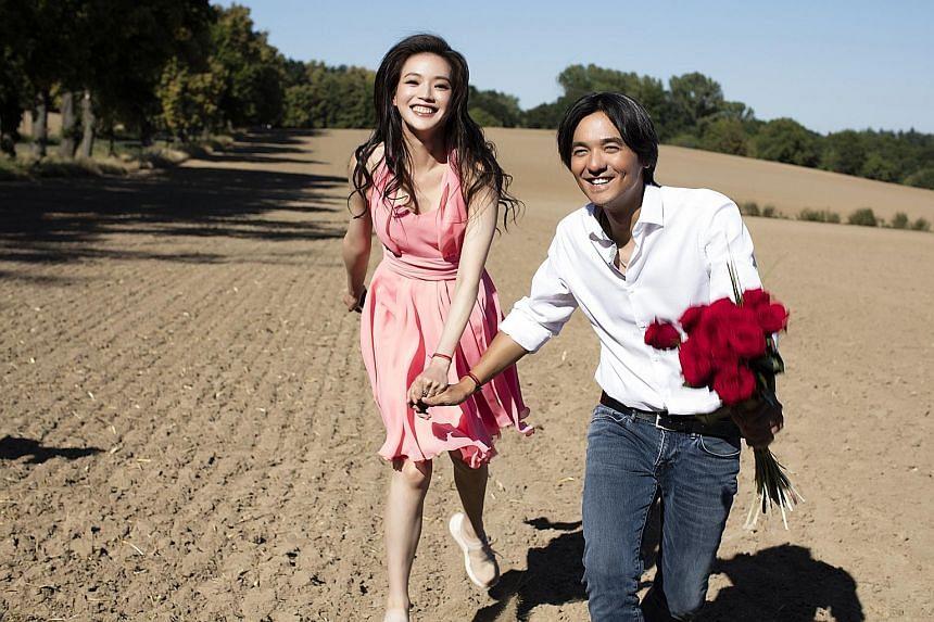 Bridal shots of actress Shu Qi and director Stephen Fung (above).