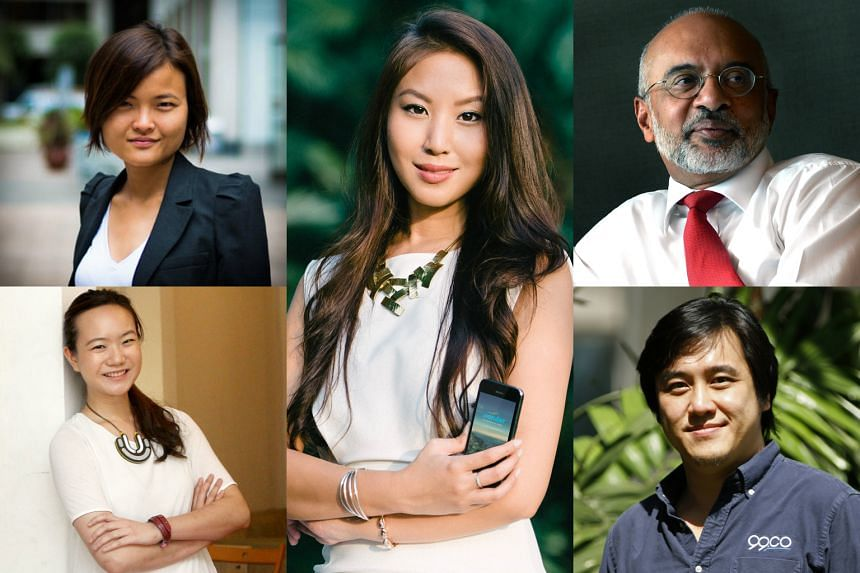 Clockwise from top left: Grab co-founder Hooi Ling Tan, Wander CEO Krystal Choo, DBS Group Holdings CEO and director Piyush Gupta, co-founder and CEO of 99.co Darius Cheng and former Singapore politician Nicole Seah.