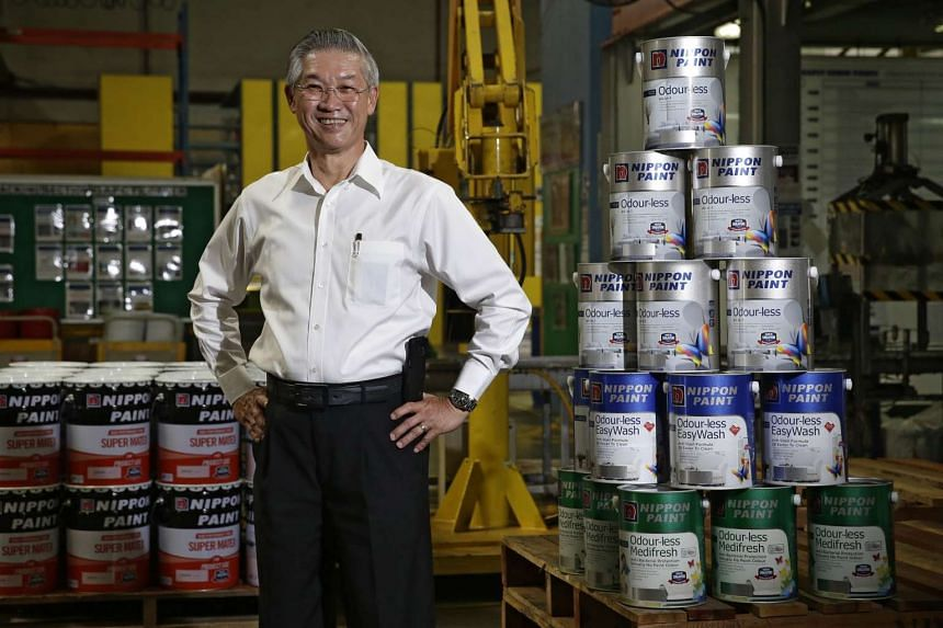Nippon Paint (Singapore) managing director Wang Chyang with a range of odourless paint at Nippon Paint on Sept 6, 2016.