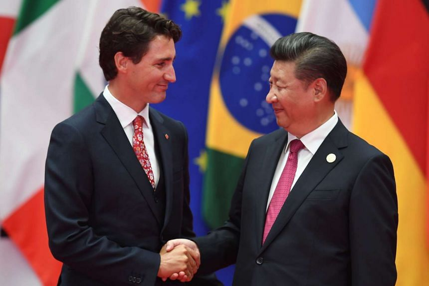 Canadian Prime Minister Justin Trudeau shaking hands with Chinese President Xi Jinping at the G-20 summit in Hangzhou on Spet 4, 2016.