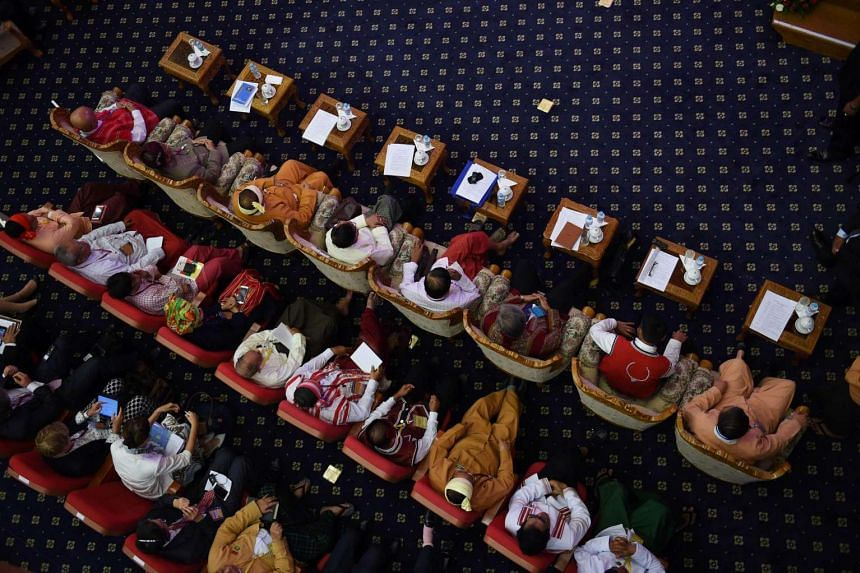 Myanmar ethnic rebel leaders at the Union Peace Conference in Naypyidaw on Aug 31, 2016.