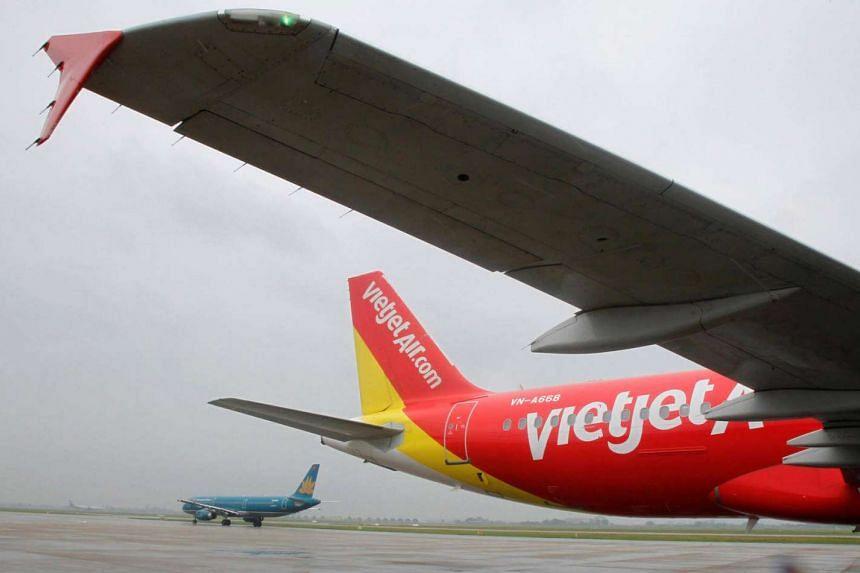 A VietJet A320 plane seen at Hanoi's Noi Bai International Airport.