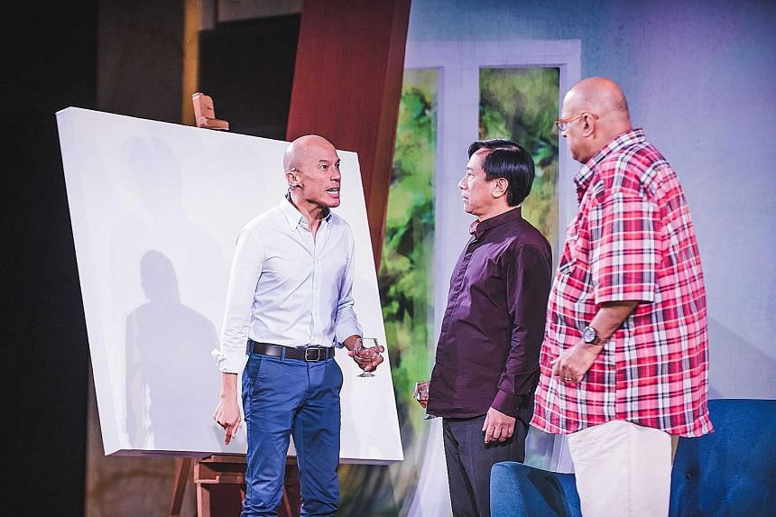 Friends in Art (from left) Lim Yu-Beng, Gerald Chew and Remesh Panicker.