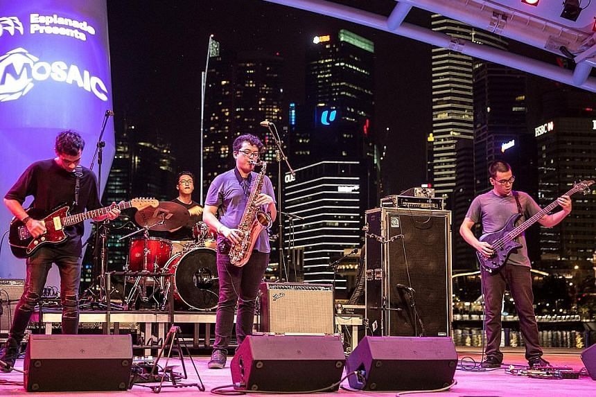 T-Rex comprise (from far left) Ahmad Khaliq, 28; Bryan De Rozario, 20; Axel Serik, 25; and Junaidi Kusnong, 30 (on drums).
