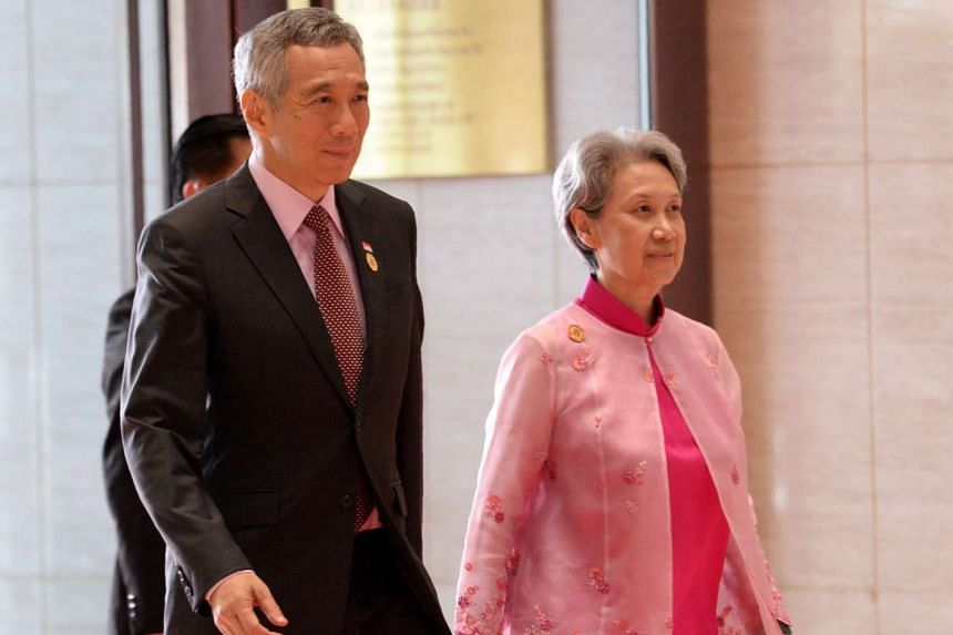 Singapore PM Lee Hsien Loong and his wife Mrs Lee arriving for the opening ceremony of the 28th Asean Summit in Vientiane, Laos, on Sept 6, 2016.