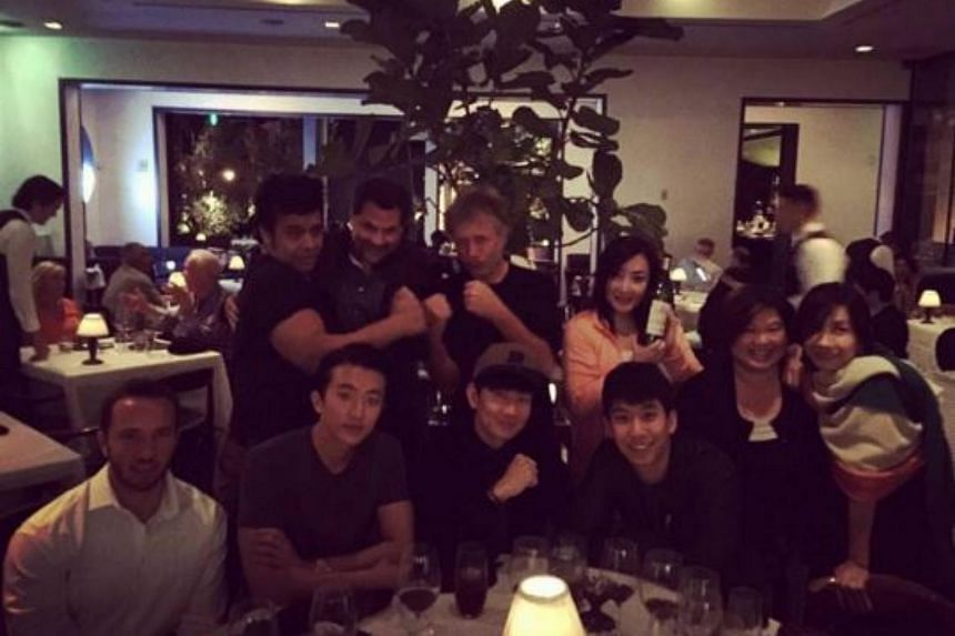 Singapore singer JJ Lin (centre) at a dinner at Spago Beverly Hills.