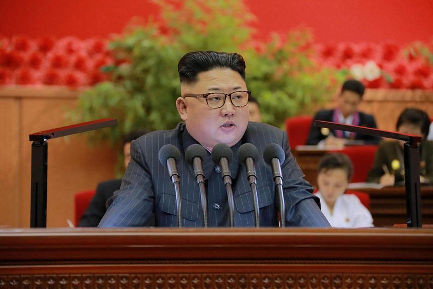 Kim Jong Un giving a speech in an undated photo provided by North Korea's Korean Central News Agency. He has called on his military to continue building up Pyongyang's nuclear force.