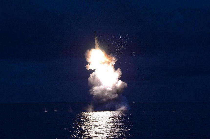 A test-fire of a submarine-launched ballistic missile released by North Korea's Korean Central News Agency in Pyongyang on Aug 25, 2016.