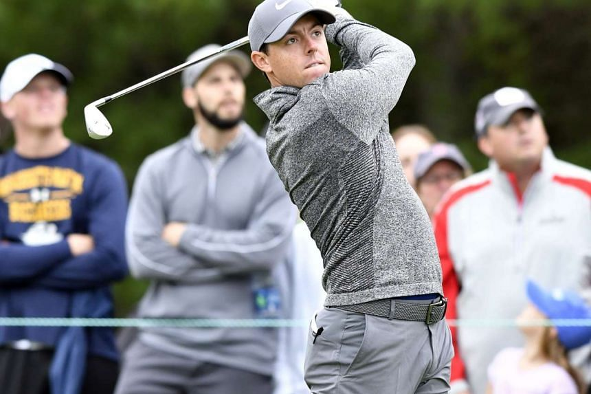 Rory McIlroy watches his tee shot on the 3rd hole during the final round of the 2016 Deutsche Bank Championship golf tournament in Boston.