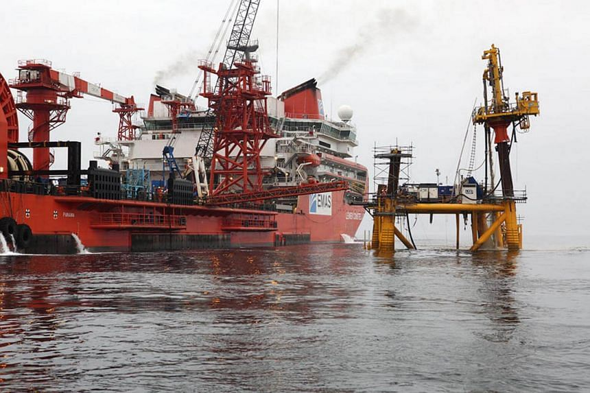 A file picture of Ezra Holdings' subsea construction vessel. Bonds in Singapore oil services company Ezra Holdings Ltd have plunged to 65 cents.