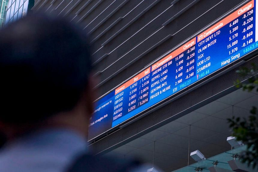 File picture of an electronic stock quotation board on the side of a building in Singapore's financial district.