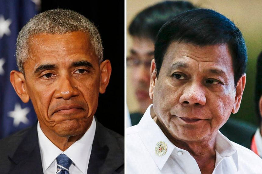 A combined photo shows US president Barack Obama (left) in Hangzhou, Zhejiang Province, China, on Sept 5, 2016 and Philippines president Rodrigo Duterte in Vientiane, Laos, on Sept 6, 2016.