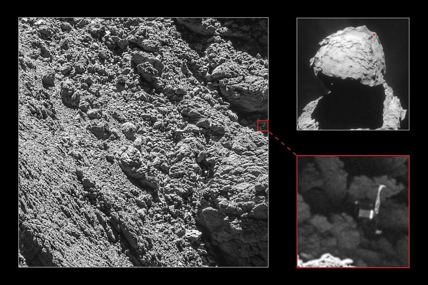 Images taken from the Rosetta spacecraft showing Philae wedged into a dark crack on the comet, with one of its three legs thrust into the air. The solar-powered space probe was stuck in a spot shadowed from the Sun's rays.