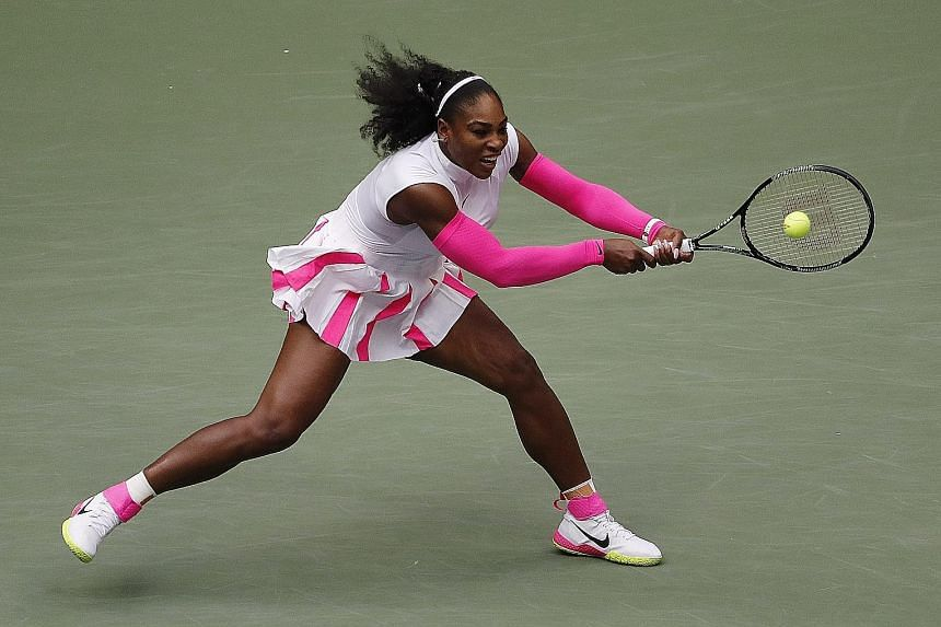 Serena Williams hitting a backhand to Yaroslava Shvedova during their last-16 clash at the US Open. Williams has yet to be tested at this year's tournament.