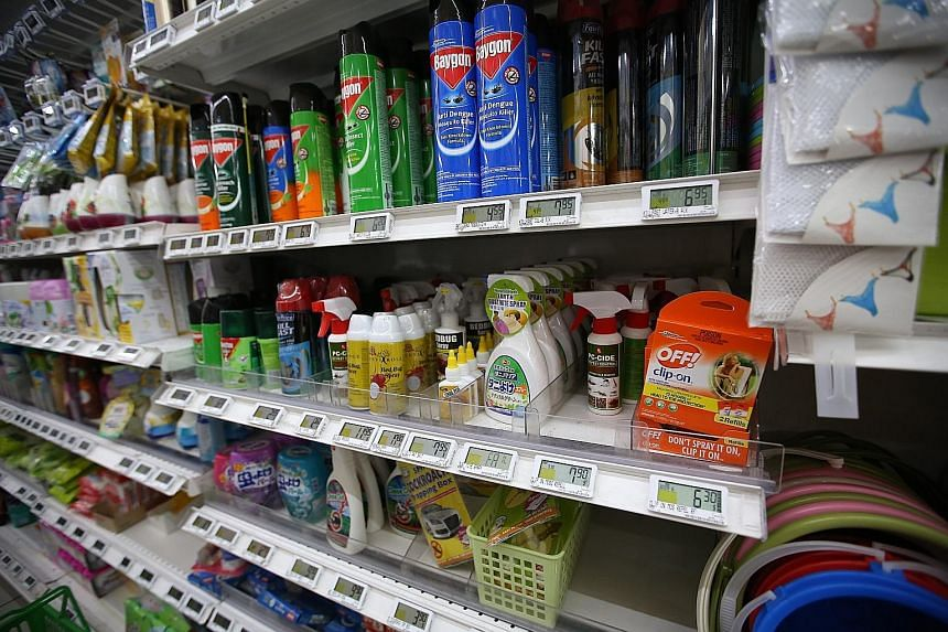Anti-mosquito products on sale at a FairPrice outlet in Hougang. Sales of these items have surged after local transmissions of Zika were reported here. FairPrice said it has placed an additional order for 175,000 pieces of various types of insecticid