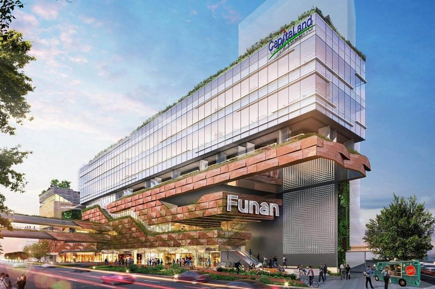 The new Funan will feature multiple access points and gentle slopes, making it easy for cyclists and pedestrians to enter the building.