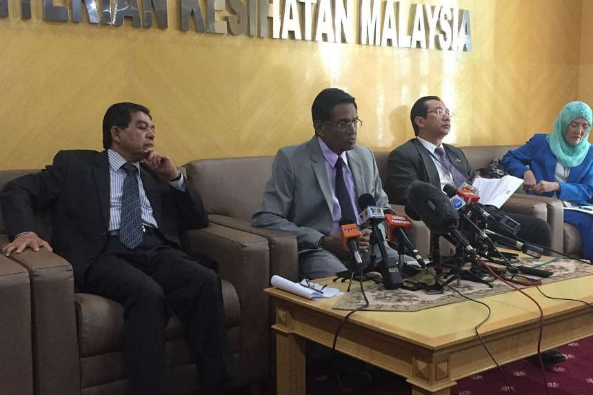 Malaysia's Health Minister Subramaniam Sathasivam (second from left) said his ministry will hospitalise all pregnant Zika patients to be treated by specialists.