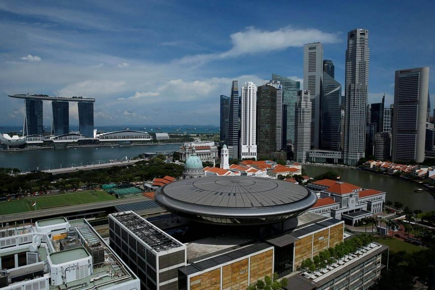 A view of the skyline of Singapore's central business district.