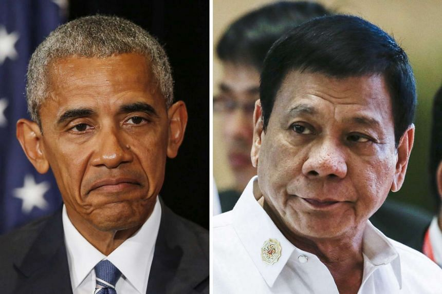 A meeting between Obama (left) and Duterte was cancelled after the Philippine President used offensive language against Obama.