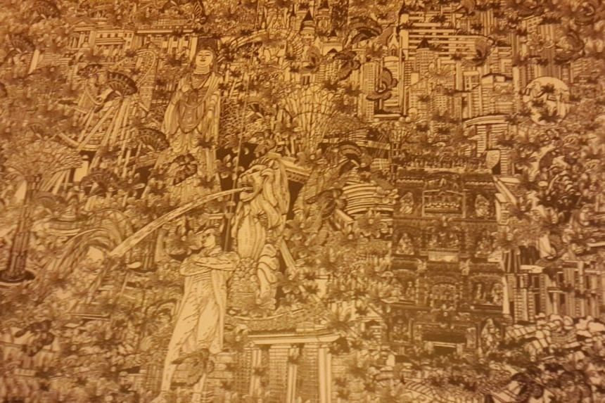 The 36cm by 49cm artwork, by Chinese artist Zhang Minjie, features HDB flats, the Merlion, Marina Bay Sands and the statue of Sir Stamford Raffles.