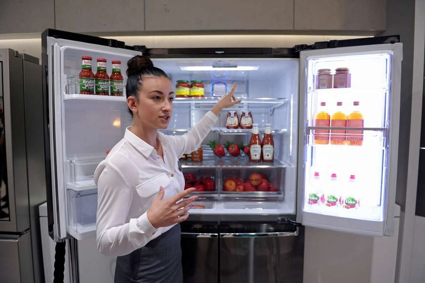 LG's smart fridge has a 29-inch Windows 10 tablet as one of its doors. Among the fridge's features, its touchscreen can turn translucent with a knock, allowing users to peer inside.