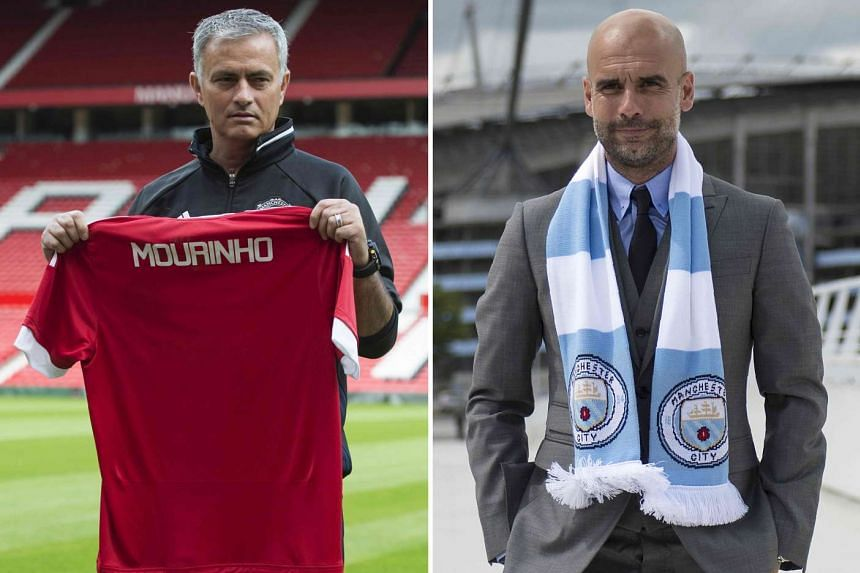 Manchester United manager Jose Mourinho (left) will be pitting his wits against cross-city rivals Manchester City and their manager Pep Guardiola on Sept 10, 2016.