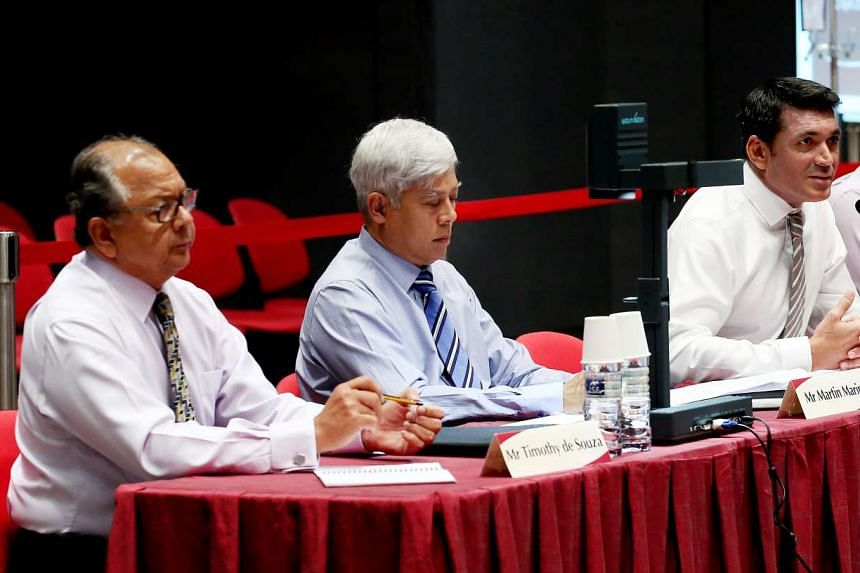 Eurasian Association trustee Timothy de Souza, honorary treasurer Martin Marini, president Benett Theseira and vice-president Alexius Pereira at the second Constitutional Commission hearing on the elected presidency on April 22 2016.