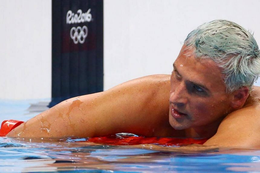Ryan Lochte reacts after swimming in the men's 200m individual medley final at the Rio Olympics.