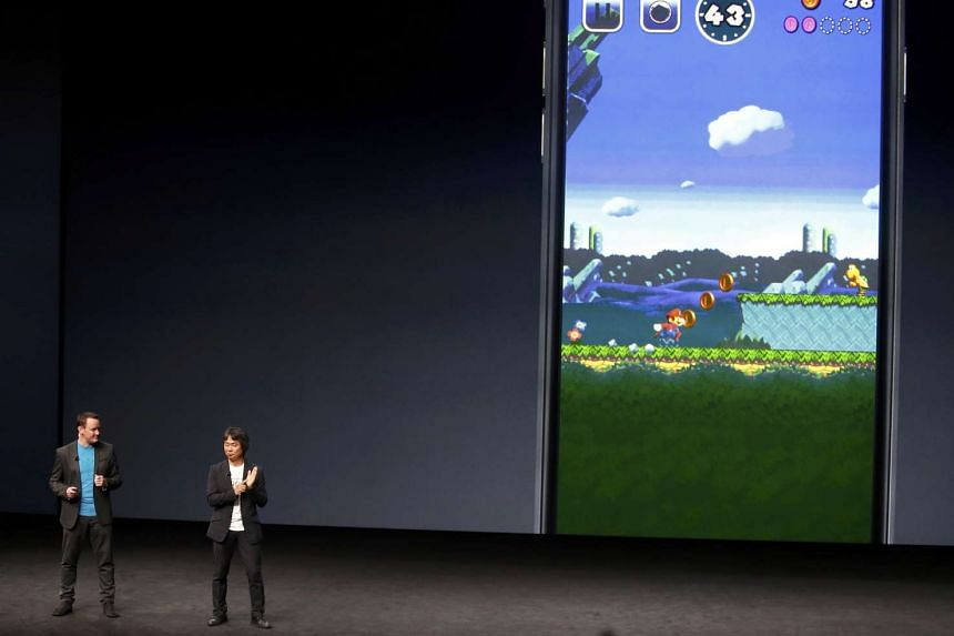 Shigeru Miyamoto announces a Mario Bros game for the iPhone during an Apple media event in San Francisco.