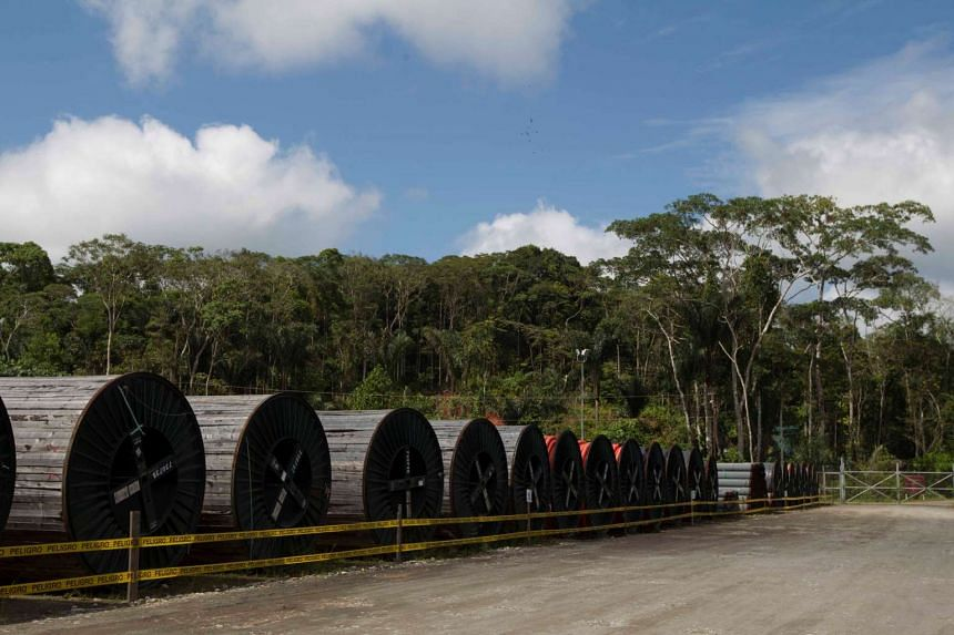 Equipment for oil exploration belonging to Petroamazonas is seen at Miranda Port in Tiputini, Ecuador on Sept 7, 2016.