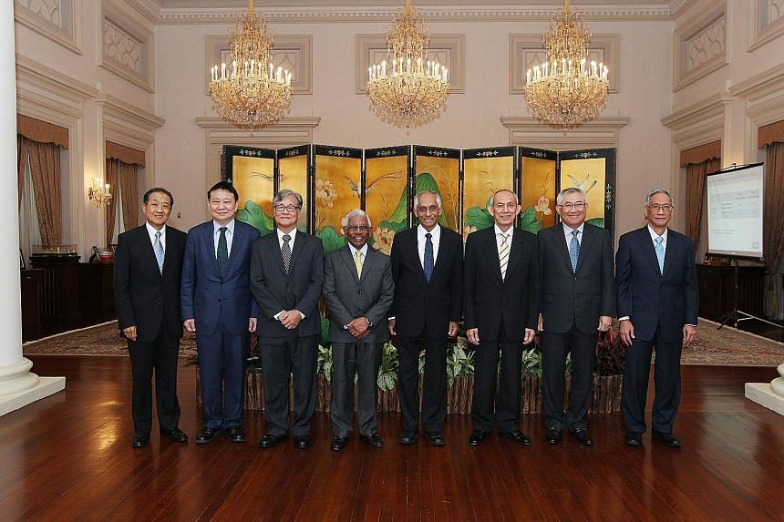 The members of the Council of Presidential Advisers - (from left) Mr Stephen Lee, Mr Lee Tzu Yang, Mr Goh Joon Seng, Mr S. Dhanabalan, Mr J.Y. Pillay, Mr Po'ad Mattar, Mr Bobby Chin and Mr Lim Chee Onn. Currently, the council comprises six members an