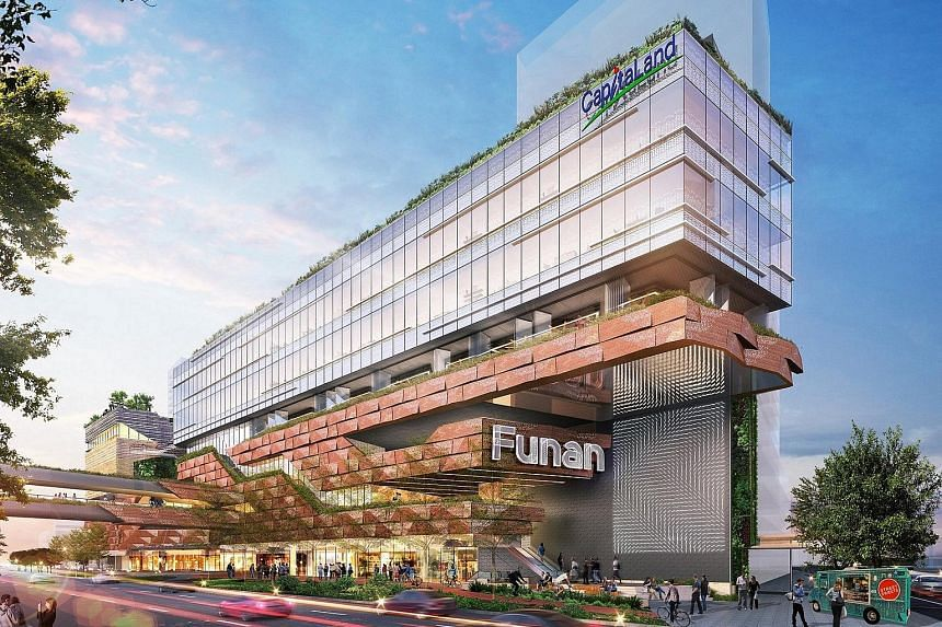 Far left: The new Funan will have an IT-dedicated floor. Left: Its centrepiece will be a wood and steel structure called The Tree of Life.
