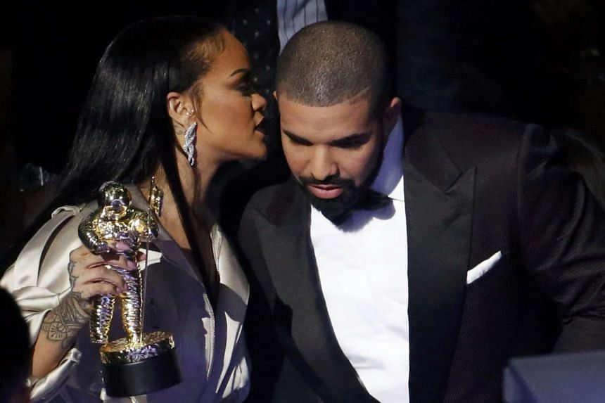 Rapper Drake onstage with Rihanna at the MTV Video Music Awards in New York in August 2016.